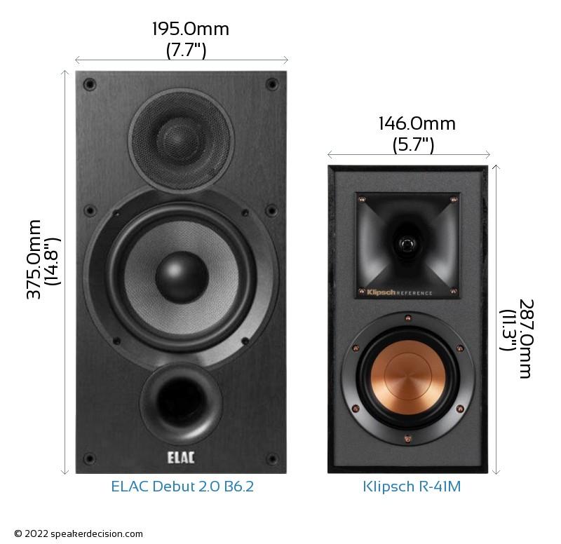 ELAC Debut 2.0 B6.2 vs Klipsch R-41M Camera Size Comparison - Front View