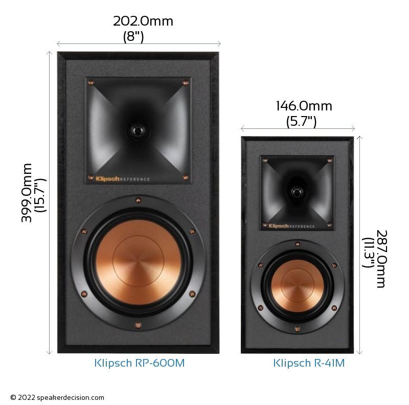Klipsch RP-600M vs Klipsch R-41M Camera Size Comparison - Front View